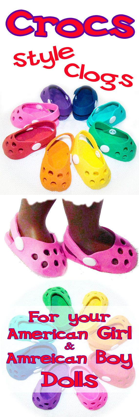 """Crocs Style Shoes for American Girl Doll, American Boy Doll or Most 18"""" Style Doll's Outfits - Doll Accessories, Doll Clothes, Doll Shoes ---- Buy 2 or more pair, get 20% off by using the coupon code """"CROCS20"""""""