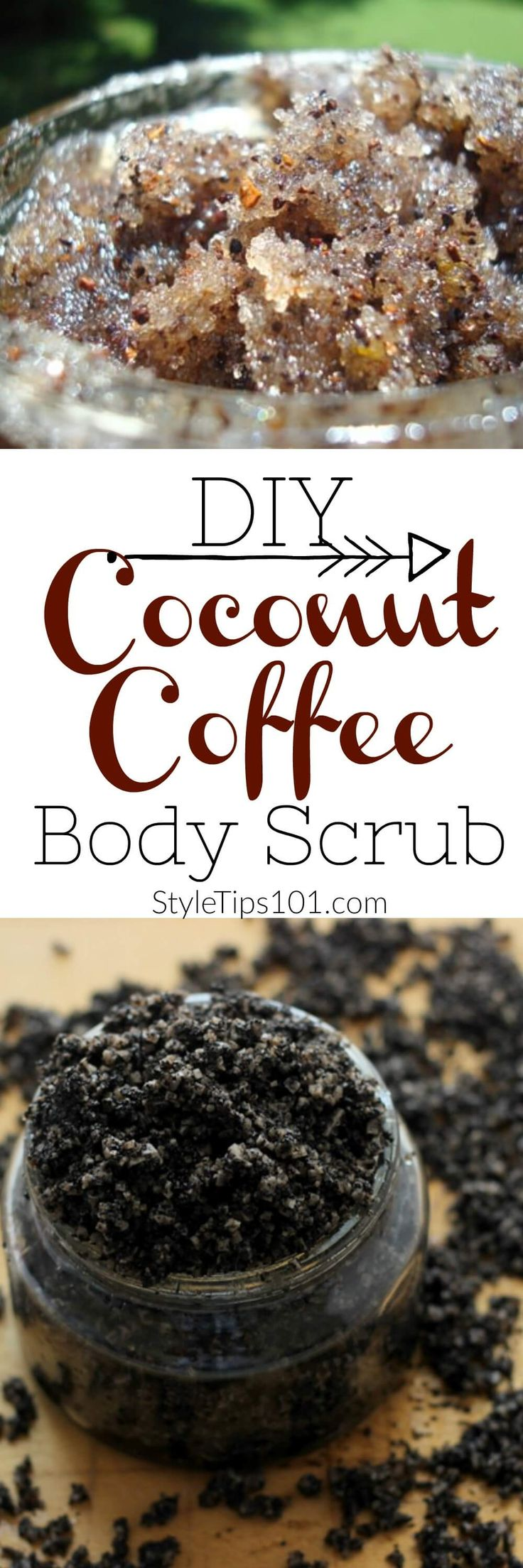 This coffee and coconut body scrub recipe uses all natural ingredients to give you a luxurious, but oh-so-cheap body scrub! via @styletips1o1