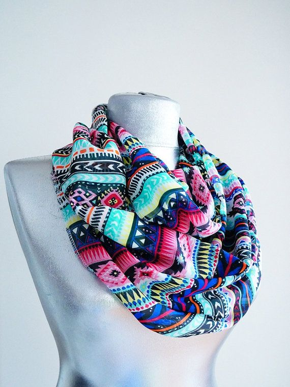 Handmade Colorful Tribal Infinity Scarf - Summer Chiffon Scarf op Etsy, 14,03 €