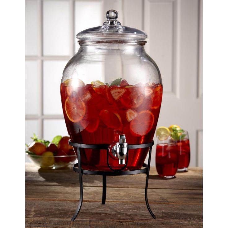 Jay Imports Glass Beverage Dispenser with Metal Stand