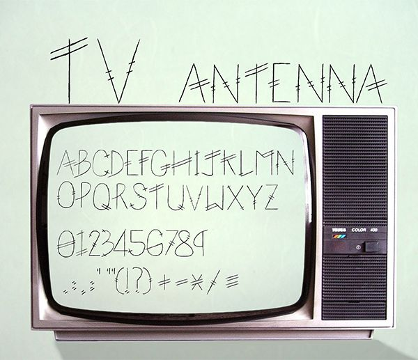 This is a font I designed with a TV antenna theme.  I will make an effort to make make the font into a free download if it gets enough appreciations on Behance so.......go appreciate.   :)  www.behance.net/BackToEarth www.facebook.com/BackToEarthAr…