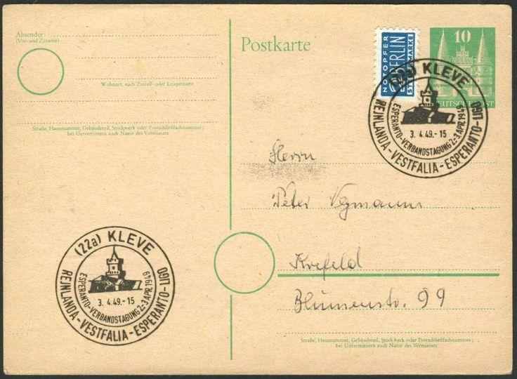 Germany, Bizone, Esperanto 3.4.1949, Deutschland, Bauten 10 Pfg.- Postkarte mit Sonderstempel einer Esperanto-Veranstaltung in Kleve. Price Estimate (8/2016): 10 EUR.