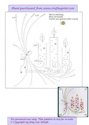 ED072 X mas candles on Craftsuprint designed by Emy van Schaik - Stitching with…