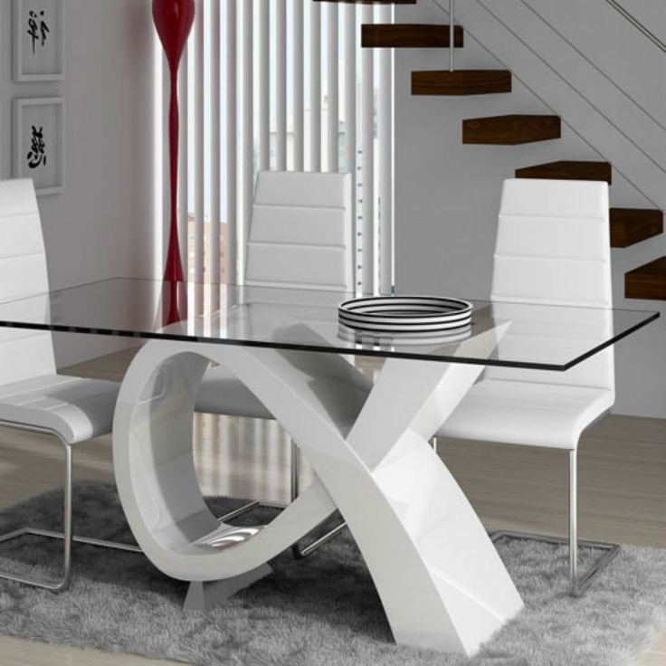 Original base laqueada con tapa de vidrio mesas living for Mesas de comedor de vidrio