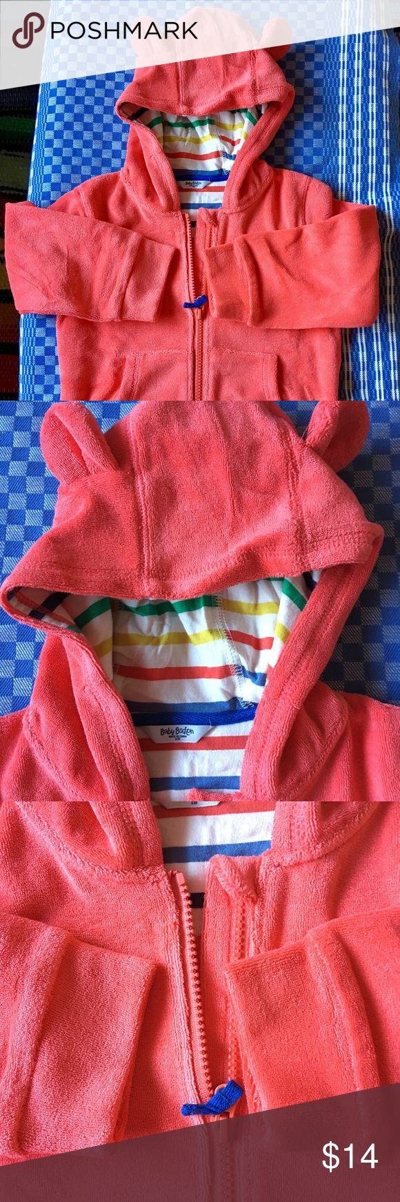 """MINI BODEN TOWELING HOODIE, COTTON, LINED/NWT, 2-3 This is a beautiful, coral toweling hoodie with two perky ears, in a lovely coral. Striped cotton lining. Hoodie is 87% cotton, 13% poly for stretch. Brand new; removed from shipping bag to photograph. Shipping tag on bag; that's all there was for a """"tag."""" I thought it was going to be bright red; the gift recipient did not care to have this color on a boy, though the hoodie is unisex! GREAT HOLIDAY GIFT ITEM! Boden Shirts & Tops Sweatshirts…"""