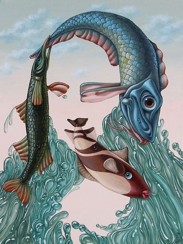 """Within his mystifying """"portrait-scapes"""", in which the evident meaning blends into the hidden one, a Russian-born artist Victor Molev has created his own artistic language of symbols, signs, and original effects that make his paintings unique and instantly recognizable. BoredPanda"""
