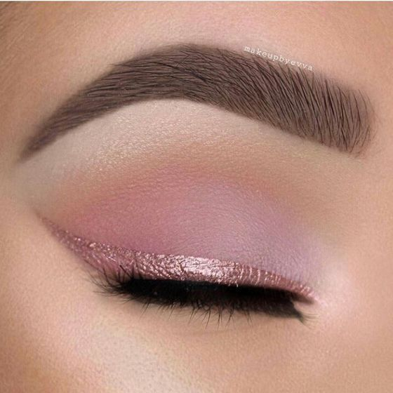 Try soft pink eyeshadow and a pink eyeliner for the most romantic cat eye.  #makeup