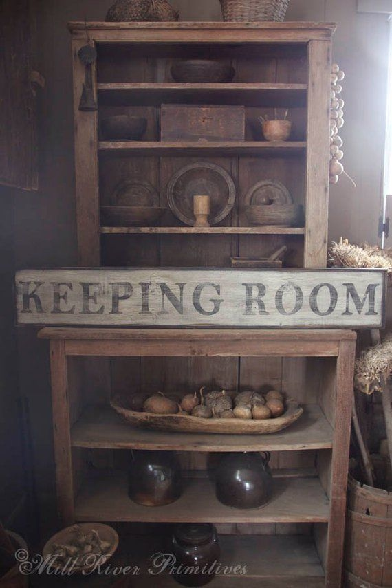 wood sign Prim Country Rustic Home Decor Sign THE KEEPING ROOM Prim Wood Sign