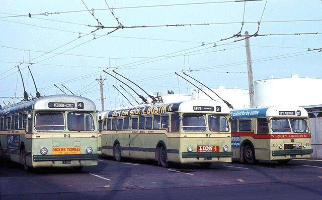 ARA trolley buses No's 94, 97 & 105 at City Depot, 01 Aug 1971, image via Flickr