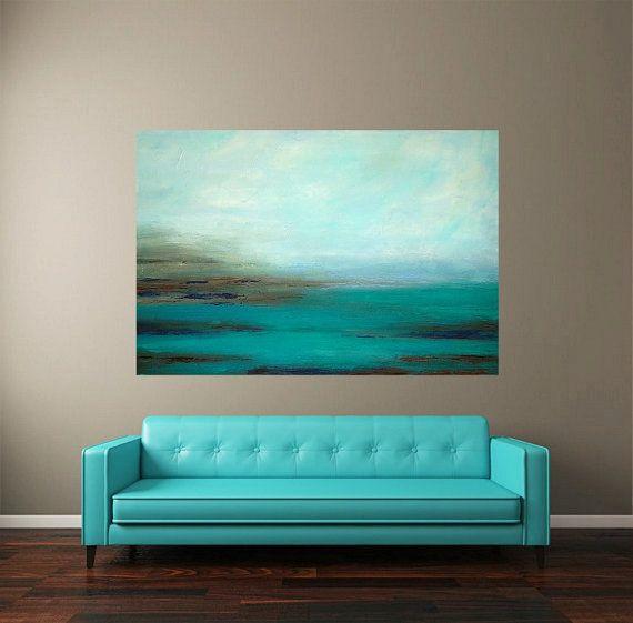 Pintura bellas arte turquesa océano de acrílico por OraBirenbaumArt