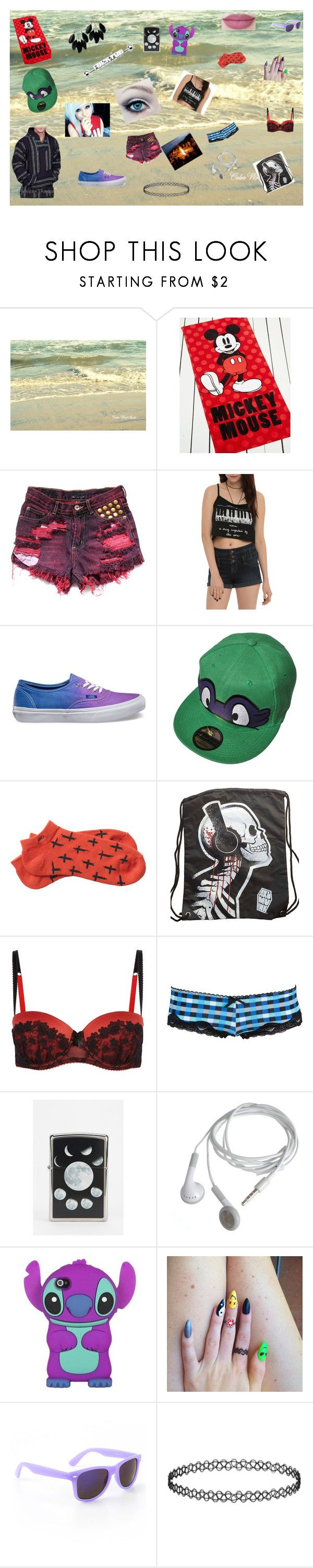 Summer Bonfire! by xsafehavenx on Polyvore featuring Hot Topic, Charlotte Russe, RVCA, Vans, Topshop, Aéropostale, WALL, Disney, Zippo and Killstar