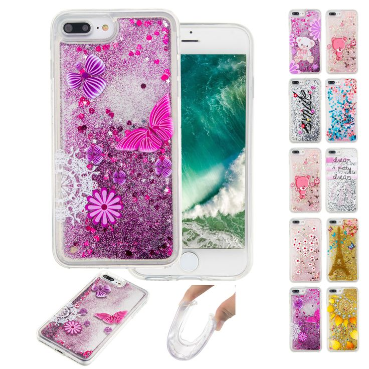 New Fashion Liquid Glitter meteor sand sequins Colorful Dynamic Transparent Hard Mobile Phone cases For iphone 4 5 6 7 PLUS
