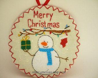 Décoration de Noël ornement - feutrine Noël bonhomme de neige - Merry Christmas - en feutrine fait main en tissu brodé ornement de Noël