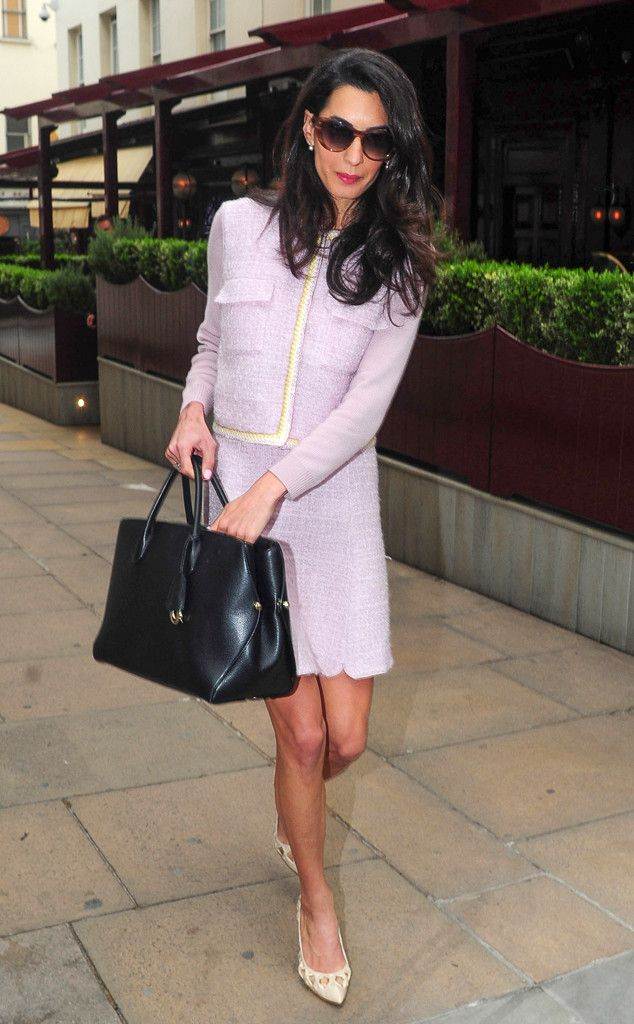 Lovely in Lilac from Amal Clooney's Best Looks  Work it, girl! Amal slips into a dainty Giambattista Valli skirt set while out in London.