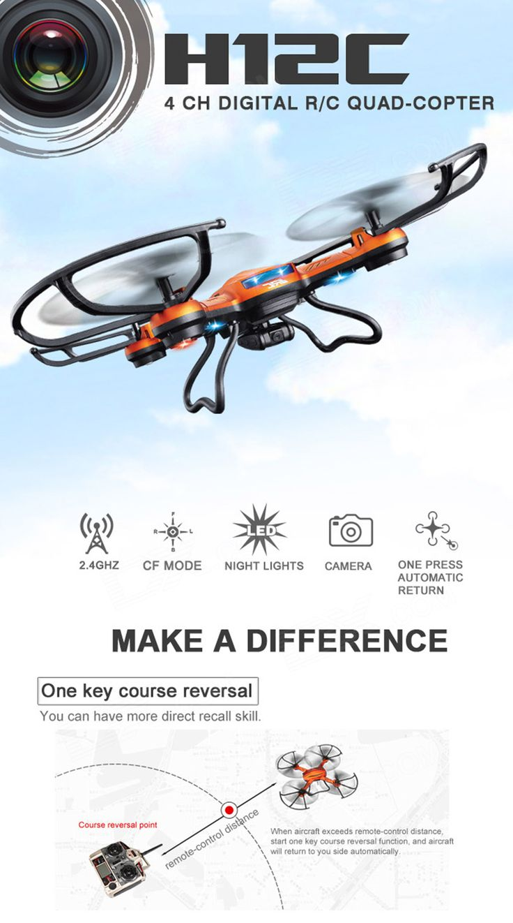 JJRC H12C 2.4GHz UFO w/ 6-Axis Gyro/Headless Mode/5.0MP Camera - White - Free Shipping - DealExtreme