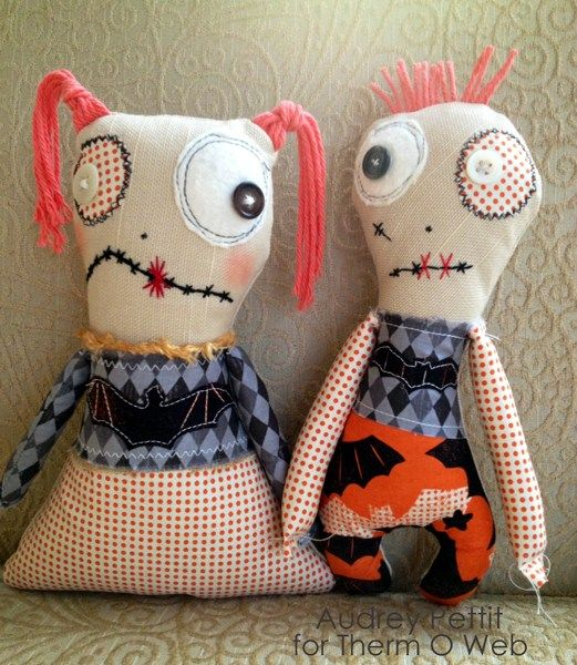 His and Hers Zombie Dolls by Designer Audrey Pettit Supplies: Therm O Web HeatnBond® Lite Sewable Iron-On Adhesive Therm O Web StitchnSew™ Sew-In Fleece Blend Fabric Spooktacular Halloween Collection Floss: DMC Muslin, Buttons, Yarn, Polyfill Fiber: Craft Supply Chalk Pastels: Stampin'Up Zombie Her Pattern Zombie Him Pattern Download and print the Zombie Her and Zombie …Read more...