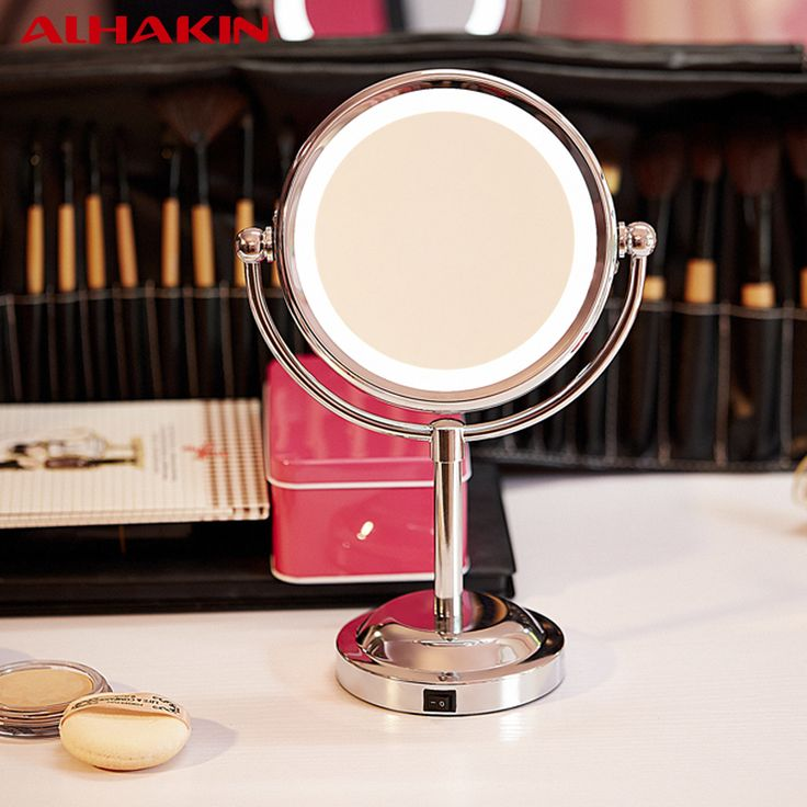 ALHAKIN 6 Inch Led Professional Makeup Mirror With Led Light Use 3 pcs AA Battery Portable Mirror  Table Stand Magnifying Mirror