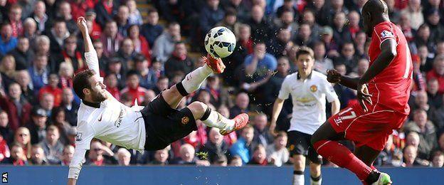 Juan Mata scored twice for Man Utd at Anfield, including a stunning scissor-kick