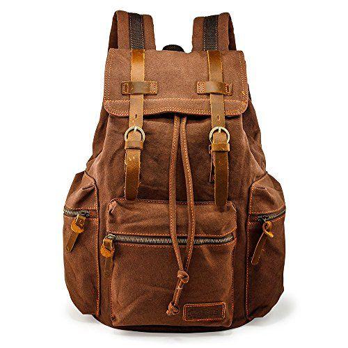 991a17ba0d72 New GEARONIC TM Men 21L Vintage Canvas Backpack Leather Laptop ...