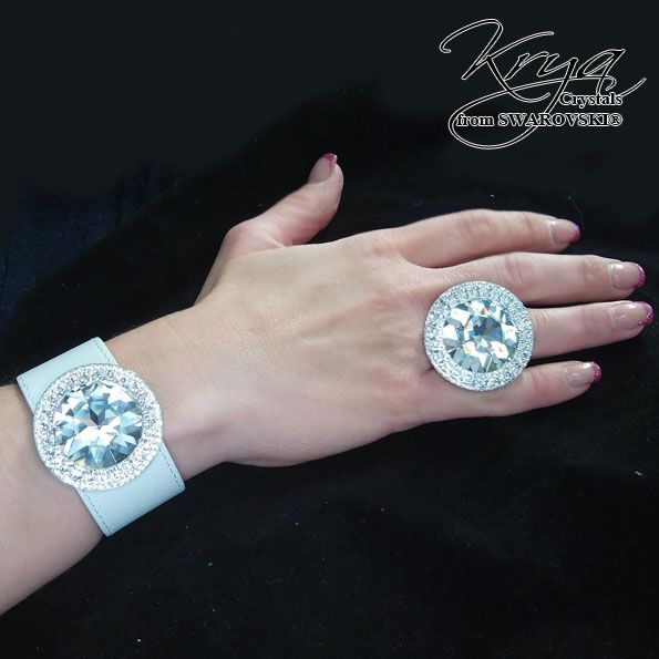 Real Leather Bracelet with Swarovski Crystals