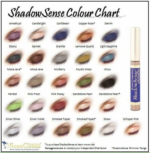 ShadowSense color chart!  Check out my Facebook group: Laryn's Long Lasting Skincare and Cosmetics! Or email Me at jobelaryn@yahoo.com You can also go to SeneGence.com and place an order under my distributor ID:185730