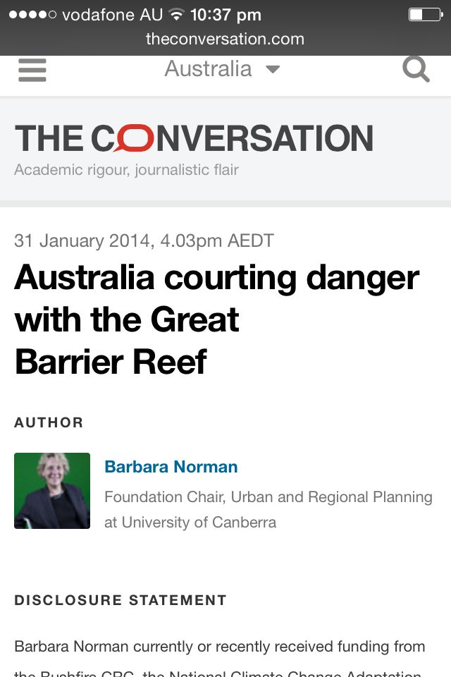 'Courting danger' Australia's great barrier reef.
