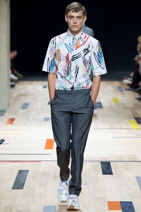 Elbow length sleeves with graffiti print Dior Homme | Spring 2015 Menswear Collection | Style.com