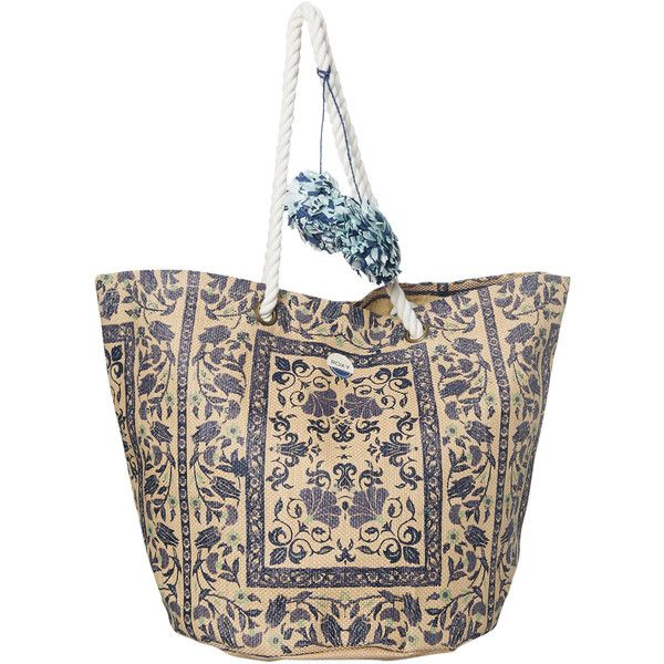 Roxy Sun Seeker Straw Tote Beach Bag Blue 39 Liked On Polyvore Featuring