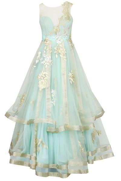 Gowns, Clothing, Carma, Mint blue floral embroidered net inserts layered gown