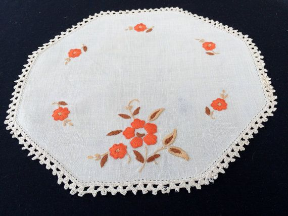 Vintage Embroidered Linen Doily. Hexagonal Hand Embroidered Ivory Linen Doily with Crochet Lace Edge. Orange Flowers Design RBT0896