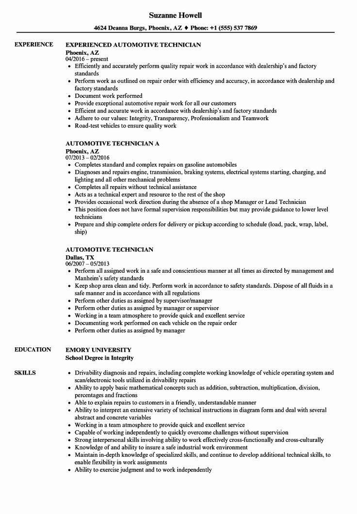 50 unique automotive technician resume template in 2020