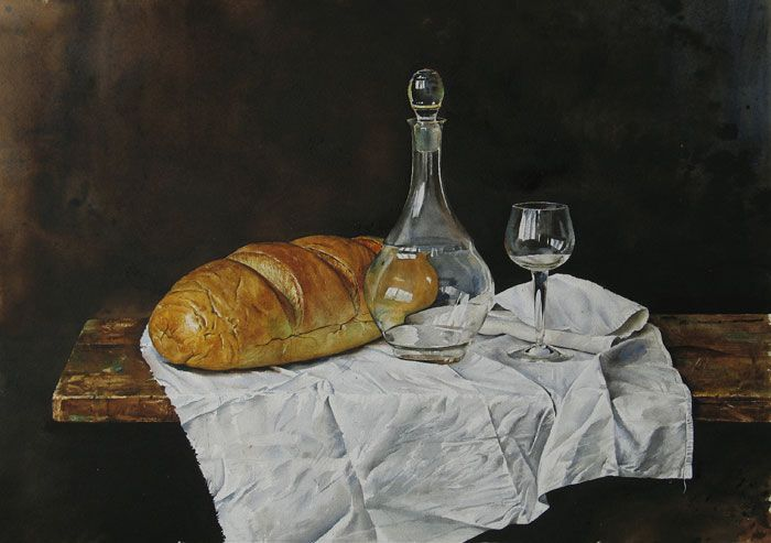 by Atanas Matsoureff, Watercolor,''Still Life with Bread'' 2007 48 x 68cm