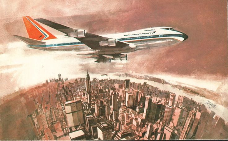 South African Airways 747 postcard