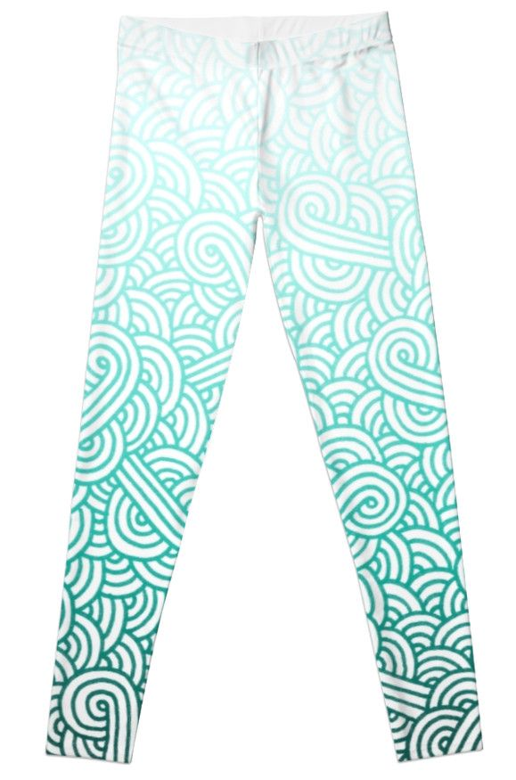 """Gradient turquoise blue and white swirls doodles"" Leggings by @savousepate on @redbubble #pattern #abstract #modern #graphic #geometric #blue #turquoise #mint #aquamarine #amazonite #caribbean #teal #ombre #gradient #leggings #leggins #pants #apparel #clothing #fashion"