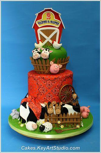 Farmhouse. So cute! love it!: Farms Cakes, Birthday Parties, Fun Cakes, Cakes Decor, Barns Cakes, Barnyard Cakes, Farmhouse Cakes, Birthday Cakes, Farms Barns Yard Cakes 01