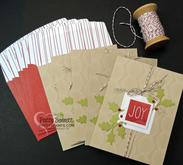 Stampin' UP! Paper Pumpkin Christmas Card Kit, November 2015.  Create 10 Christmas Cards with supplies in the kit including a great stamp set to use over and over.  I added Cherry Cobbler Baker's Twine for this alternate design idea.