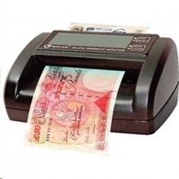 Compacto detector con pantalla LCD, grande capaz de comprobar billetes (euros y libras esterlinas) en segundos. Multi detección: infrarrojos, hilo metálico, imagen y marca de agua. Funcionamiento manual o a pilas