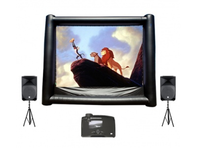Inflatable Movie Screen Rental, Outdoor Movie Screen, Backyard Movie Screen 800-873-8989    Put on a show for everyone with this Inflatable Movie Screen. You can use this for any occasion with up to 200 viewers. Use it for a movie night, jam on Guitar Hero, play WII games, etc. Comes with projector, screen and audio system.