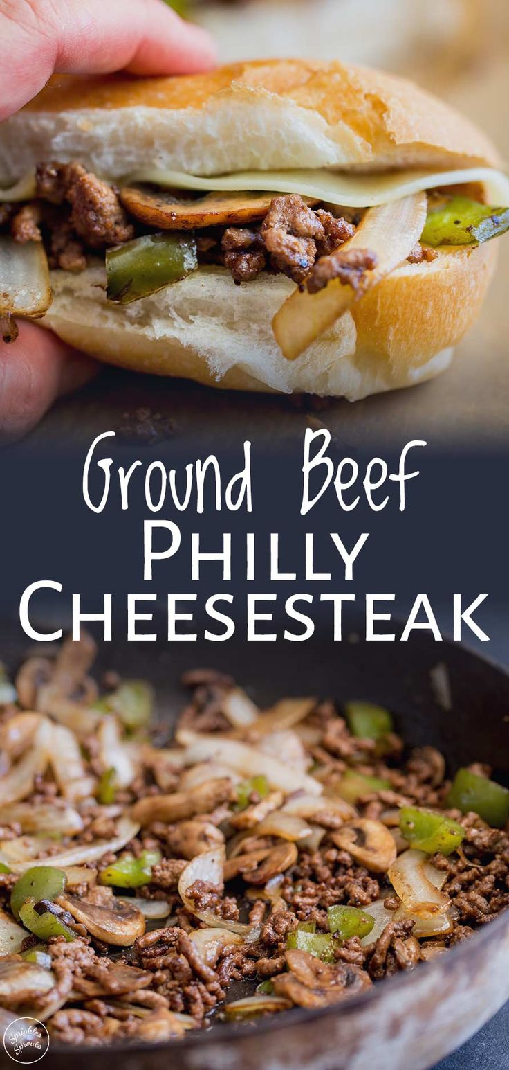 For a twist on a Philly Cheesesteak, try this ground beef version. The beef is c…