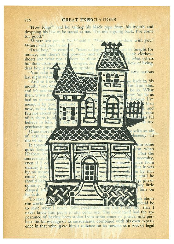 original linocut print of a Victorian house on a page from a beautifully aged copy of the Charles Dicken's classic Great Expectations. $15.00