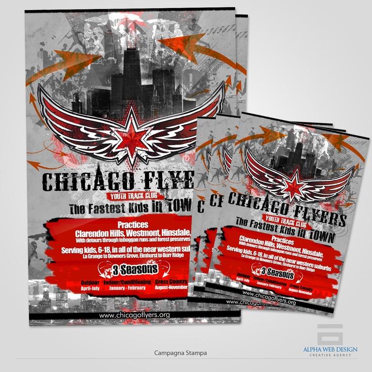 """Per la campagna pubblicitaria 2012/2013 il cliente """"Chicago Flyers"""", squadra di atletica giovanile della città statunitense, sceglie Alpha Web Design per la realizzazione di un illustrazione e la progettazione della campagna-stampa..."""