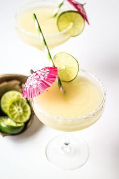 These from-scratch margaritas use lime juice and agave nectar in place of syrupy pre-made mix. Blended with coconut tequila and served with a coconut-salt rim, these tropical drinks will whisk you away to paradise!