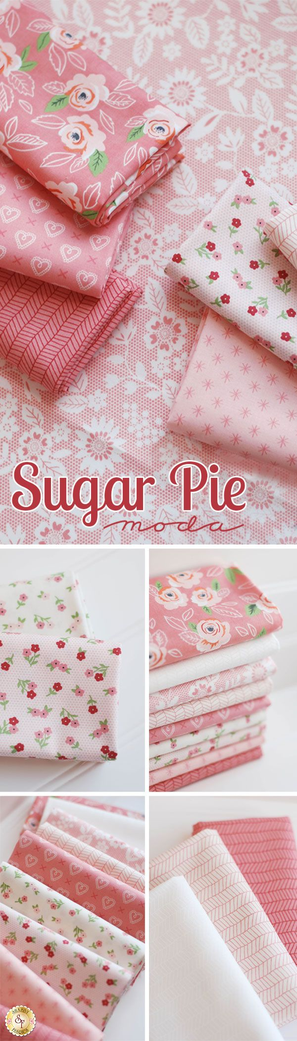 Sugar Pie by Lella Boutique from Moda Fabrics The Sugar Pie collection by Lella Boutique for Moda Fabrics blends beautiful pinks and creams to create a lovely collection that's perfect for any occasion. This collection features a range of classic floral prints and even hearts and stars.