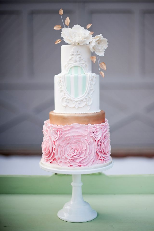 Pink, mint, and gold wedding cake | Jessica Maida Photography | see more on http://burnettsboards.com/2014/02/stylized-bridal-portraits-pink-dress-matching-cake/