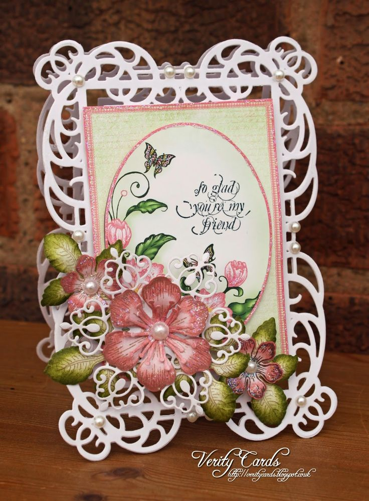 Card made using Spellbinders Mystical Embrace die and Heartfelt Creations Arianna Blooms paper, sentiment and flowers. Made by Liz Walker