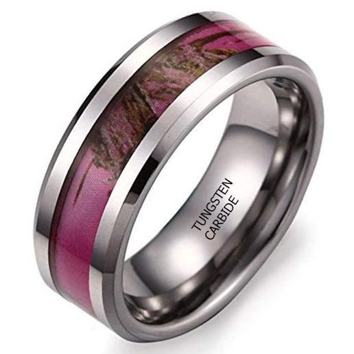 Certified 8mm Hunting Camouflage Tungsten Wedding Band Pink Camo