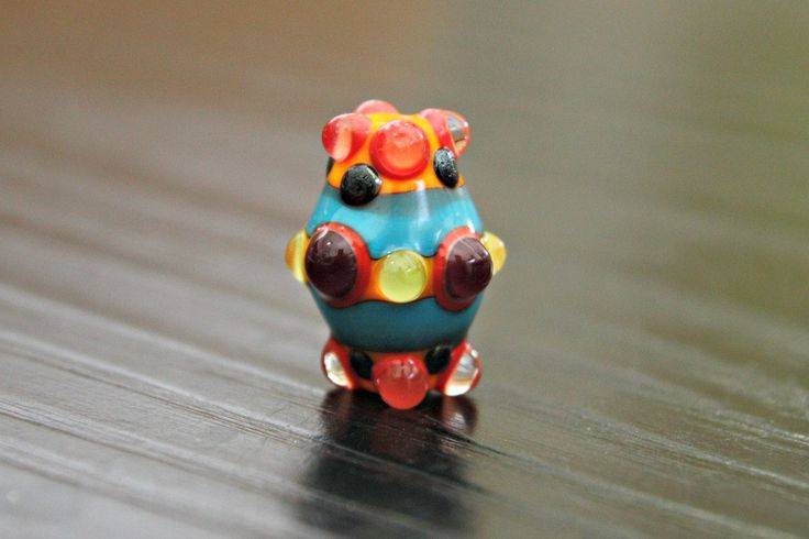 Bi-cone Shaped Lampwork Focal Bead With Raised Dots Made From Orange Turquoise Lime Green Purple Beading Supplies Artisan Beads by blancheandguy on Etsy