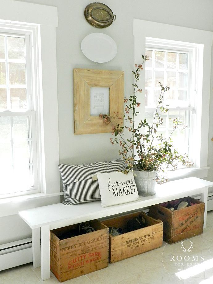 kitchen bench, vintage crates, and wall decor
