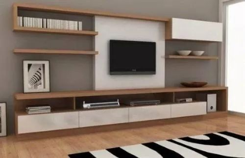 modular panel mesa tv rack lcd modelo makena muebles ryo