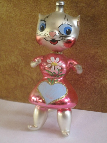 Vintage Hand Blown Glass Italy Kitty Cat Italian Christmas Tree Ornament Holiday | eBay